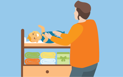 An illustration of a baby getting its diaper changes on a changed table