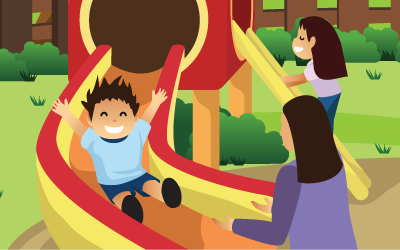 An illustration of a child sliding down a slide at a playground