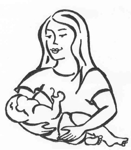 Conventional cradle hold for breastfeeding