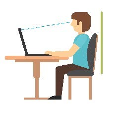 illustration of computer alignment with the child's eye level