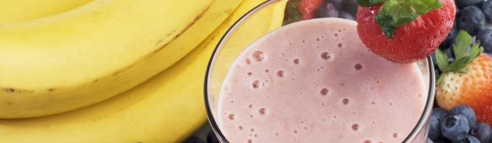 pink smoothie with strawberries and bananas