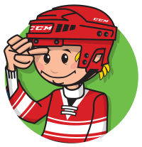 cartoon child showing one finger distance from helmet to eyebrow